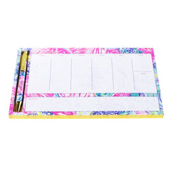 Lilly Pulitzer Weekly Desk Pad And Pen, Beach Please