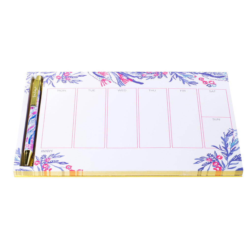 Lilly Pulitzer Weekly Desk Pad and Pen, Aquadesiac
