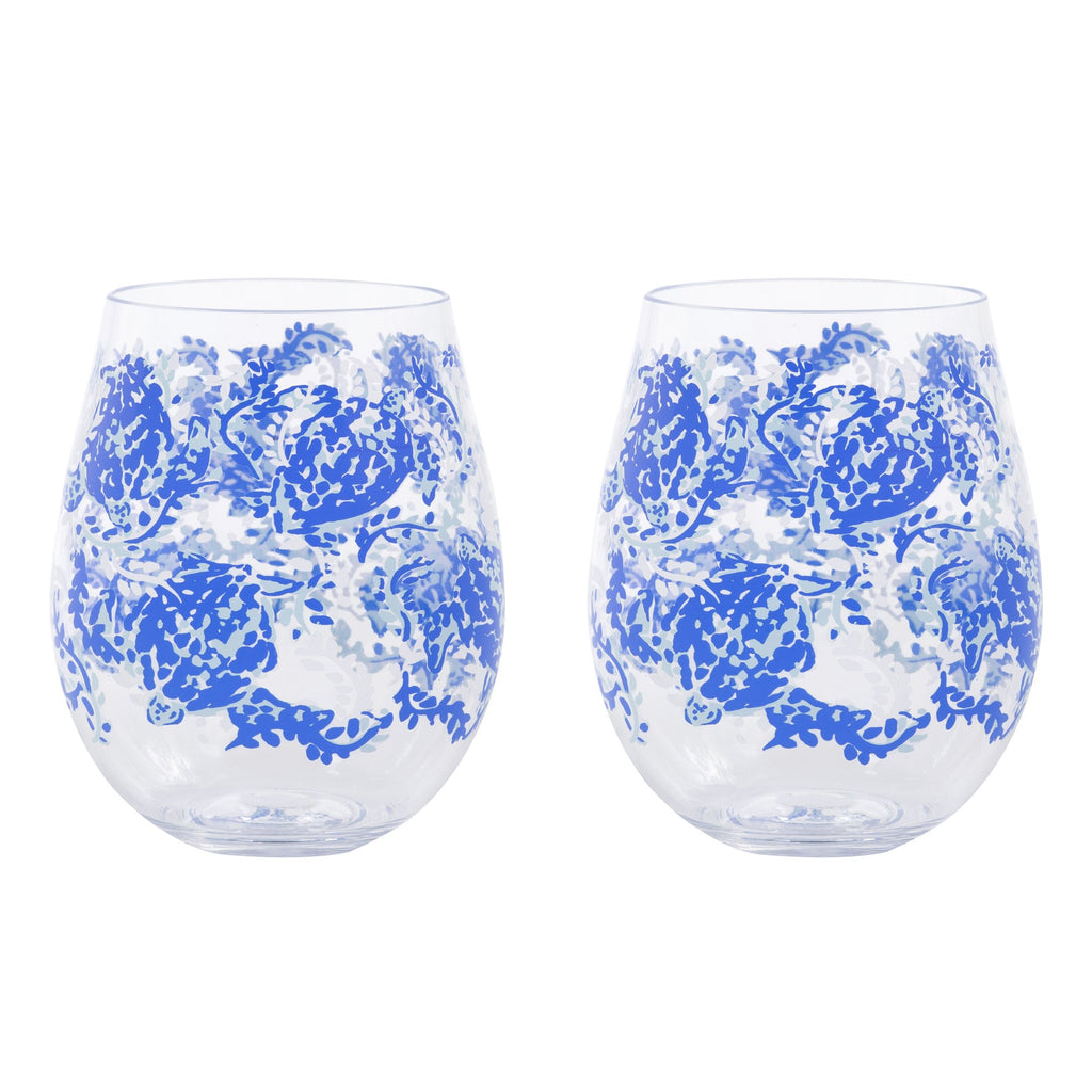 Lilly Pulitzer Acrylic Wine Glass Set, Turtley Awesome
