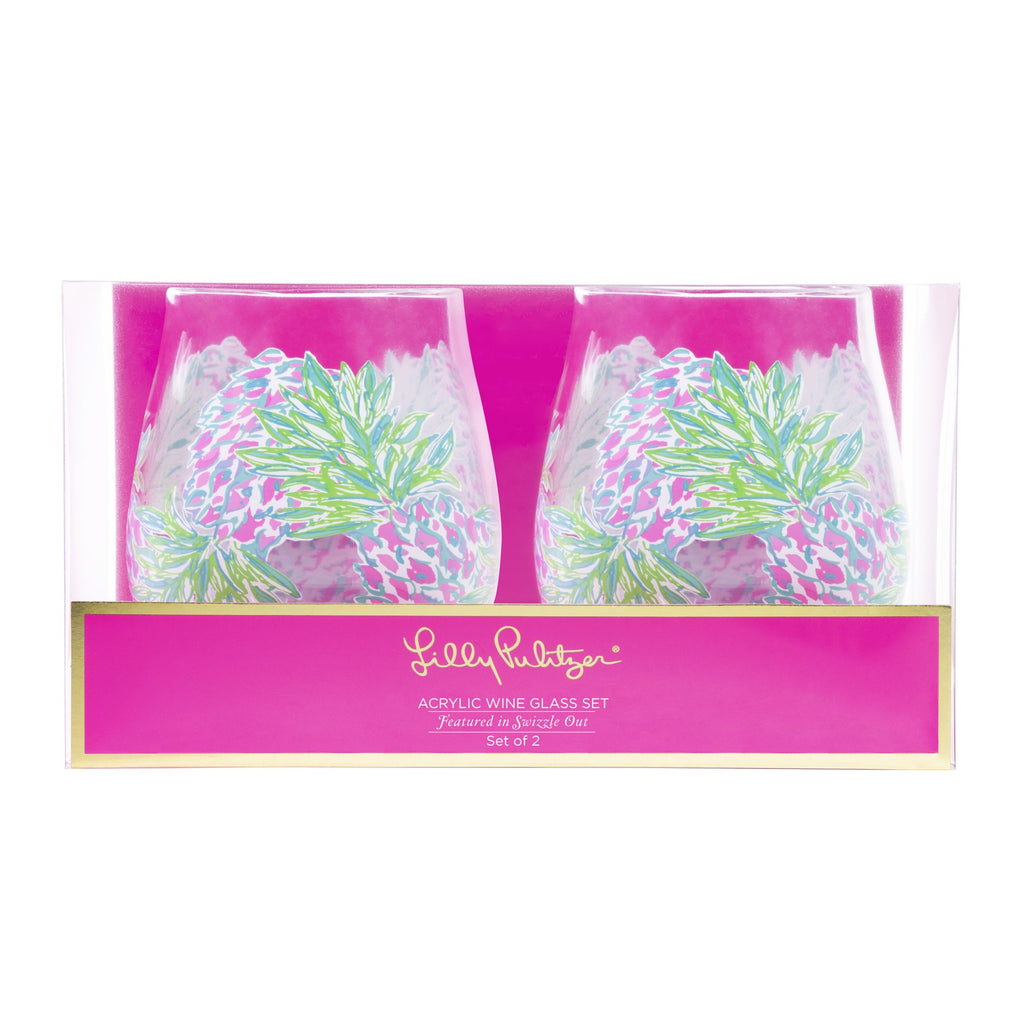 Lilly Pulitzer Acrylic Wine Glass Set, Swizzle In