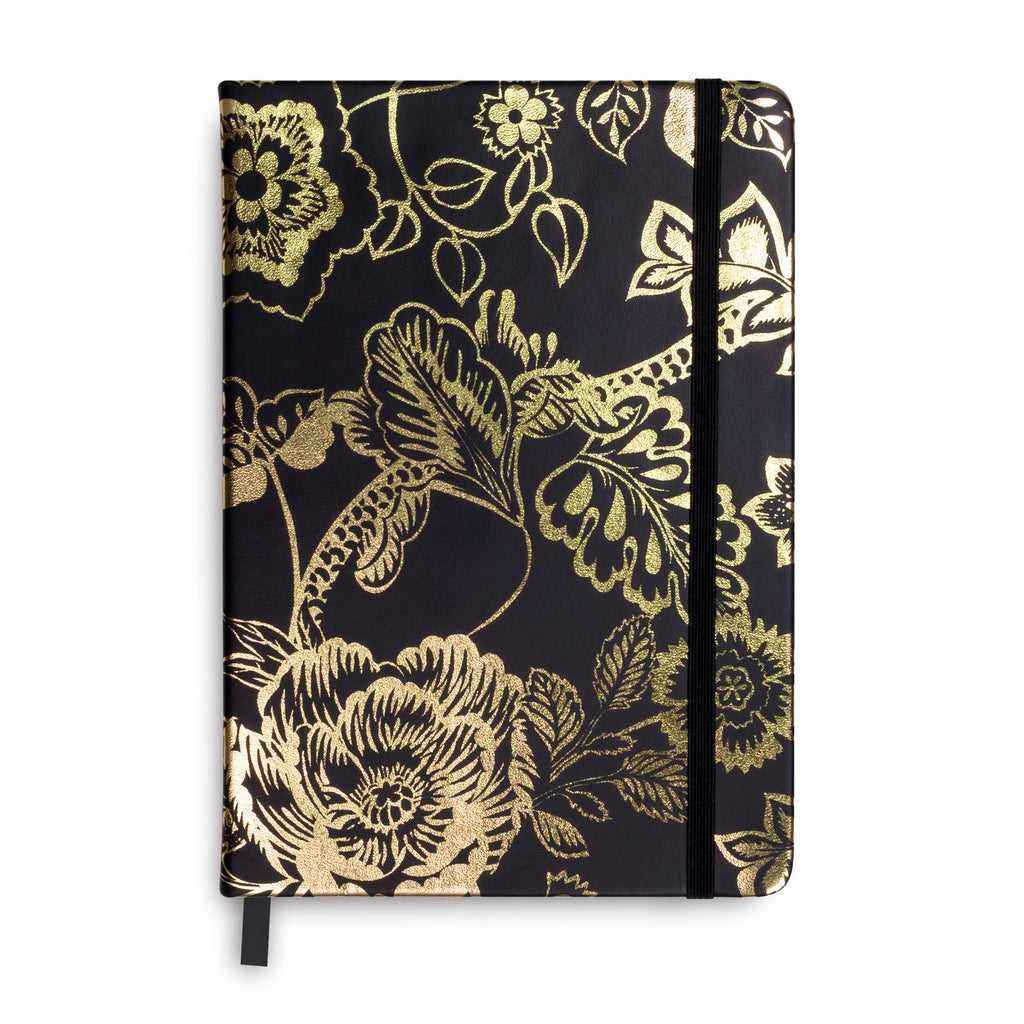 Vera Bradley Dotted Journal, Vines Floral Black & Gold