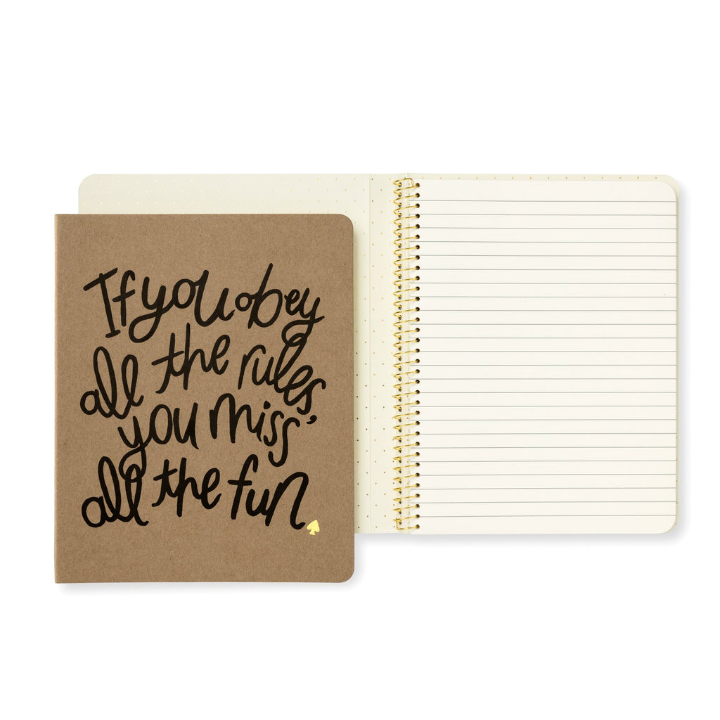 kate spade new york Concealed Spiral Notebook, Obey The Rules