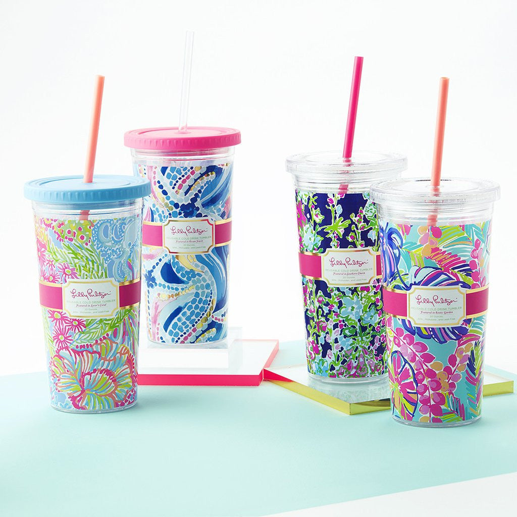 Lilly Pulitzer Reusable Cold Drink Tumbler - Lover's Coral - lifeguard-press - 3
