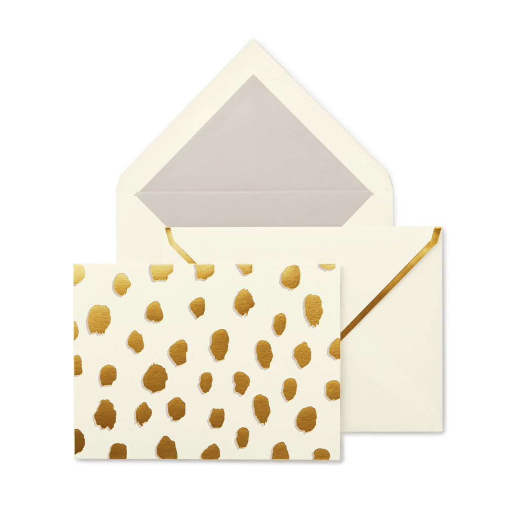 kate spade new york Foldover Card Set - Gold Flamingo Dot