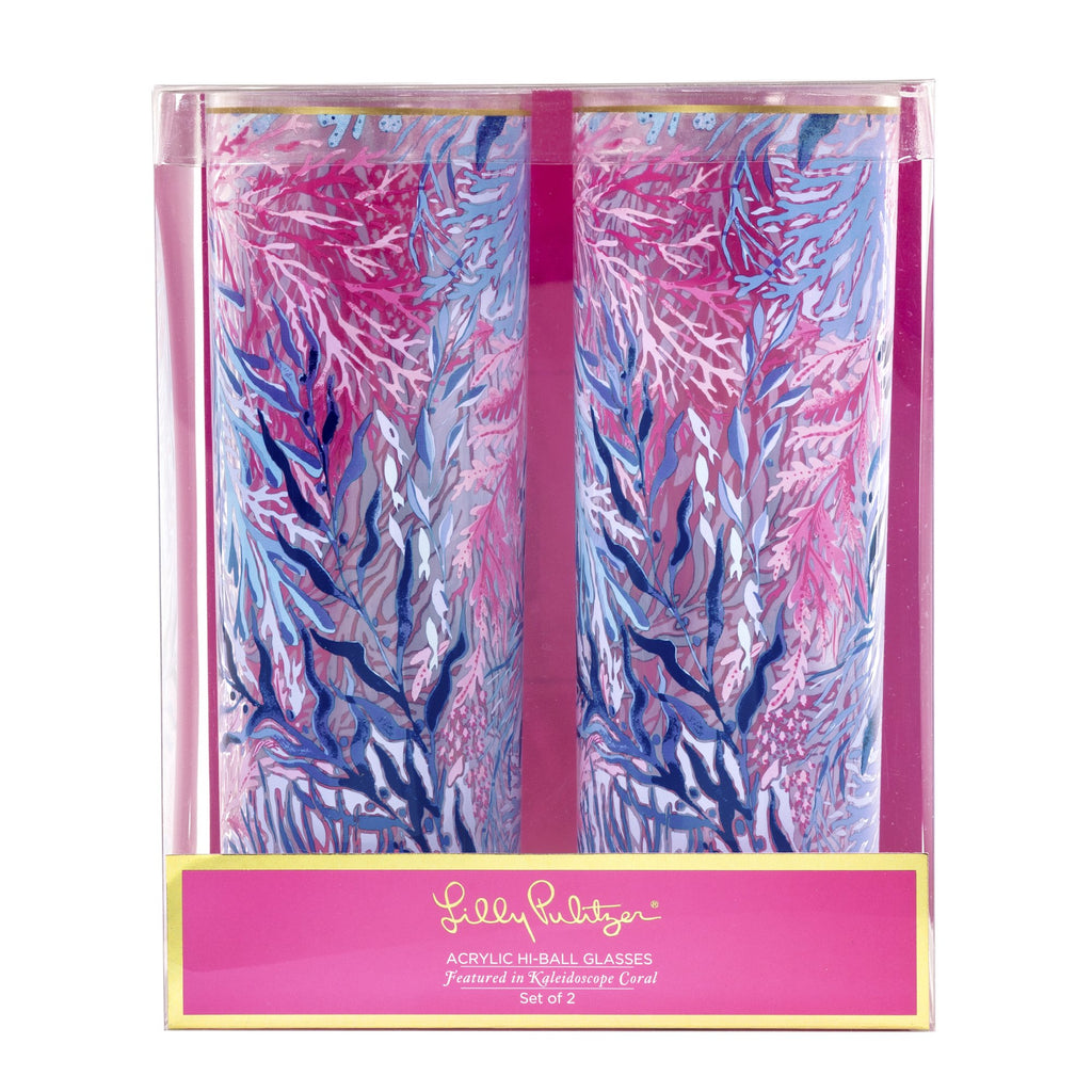 Lilly Pulitzer Hi Ball Glass Set, Kaleidoscope Coral