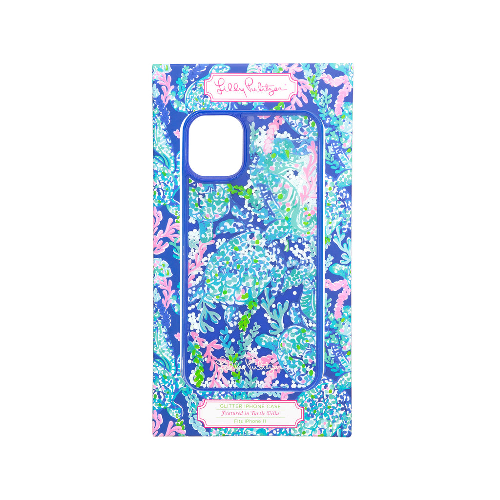 Lilly Pulitzer Iphone case 11 - Glitter, Turtle Villa