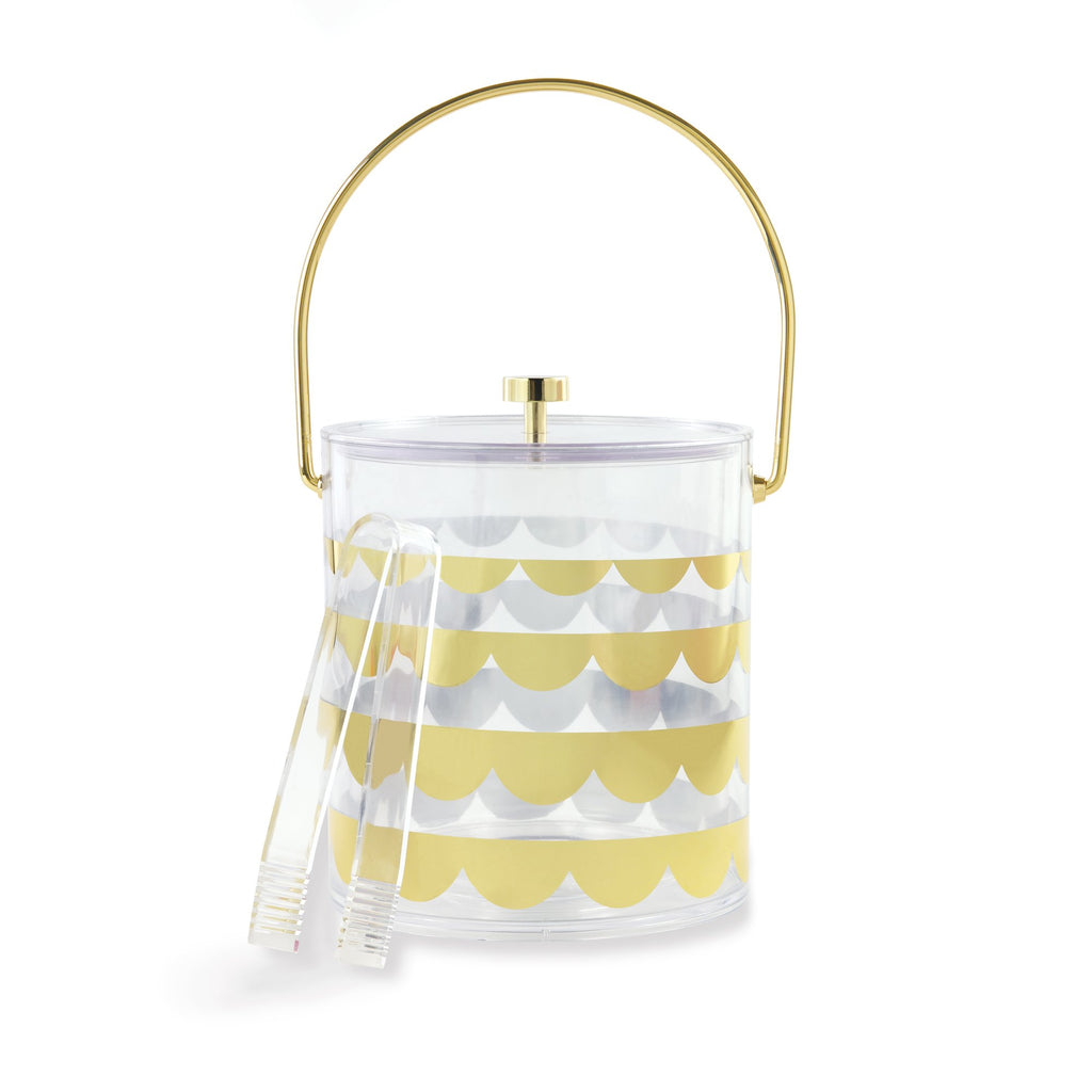 kate spade new york Acrylic Ice Bucket, Gold Scallop