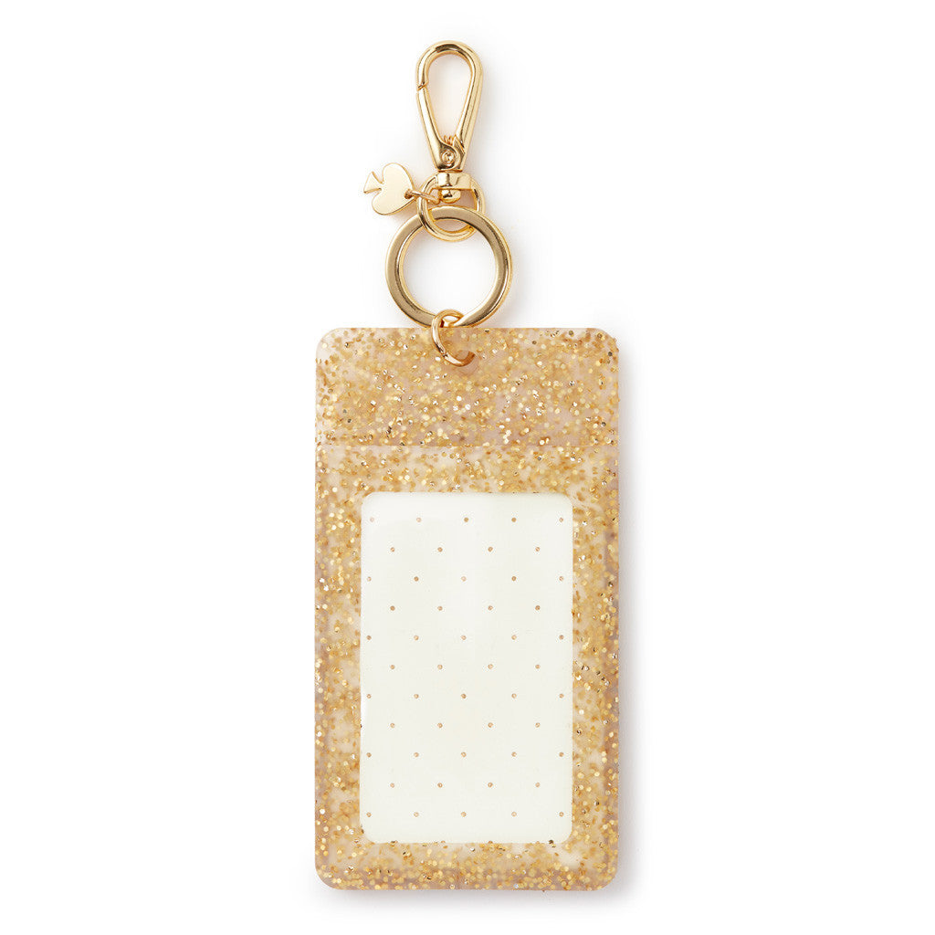 kate spade new york ID Clip - Gold Glitter