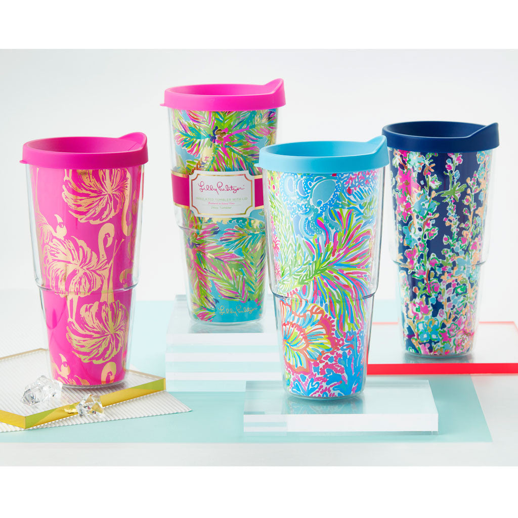 Lilly Pulitzer Double-Walled Tumbler - Lover's Coral - lifeguard-press - 2