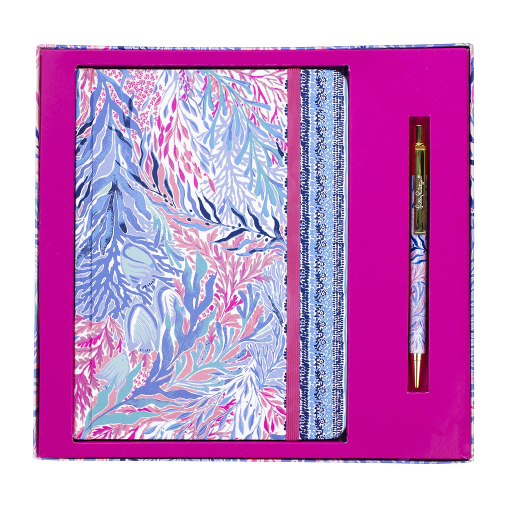 Lilly Pulitzer Journal With Pen, Kaleidoscope Coral