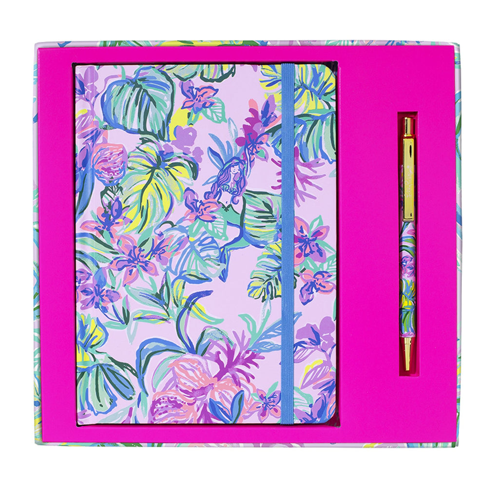 Lilly Pulitzer Boxed Journal with Pen, Mermaid in the Shade