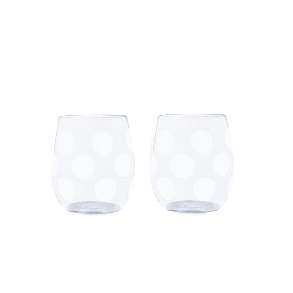 kate spade new york acrylic stemless wine glass set, jumbo dot