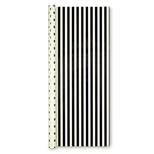 kate spade new york reversible gift wrap - black stripe - lifeguard-press - 2