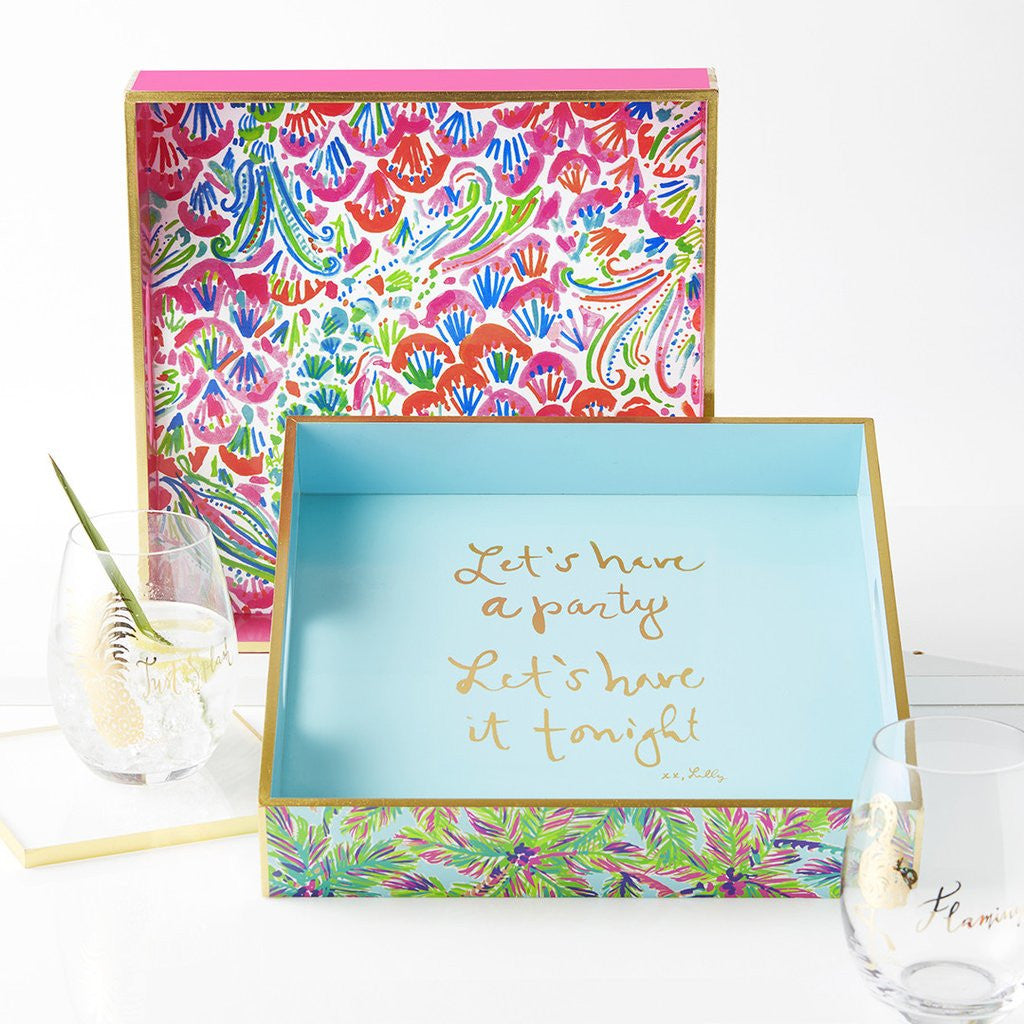 Lilly Pulitzer Lacquer Tray - I'm So Hooked - lifeguard-press - 2