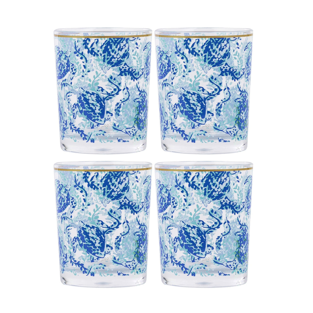 Lilly Pulitzer Lo Ball Glass Set, Turtley Awesome