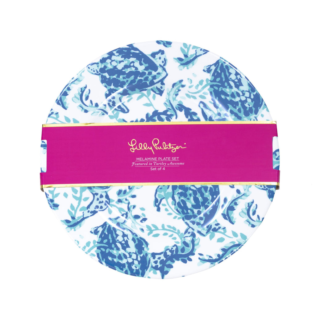 Lilly Pulitzer Melamine Plate Set, Turtley Awesome
