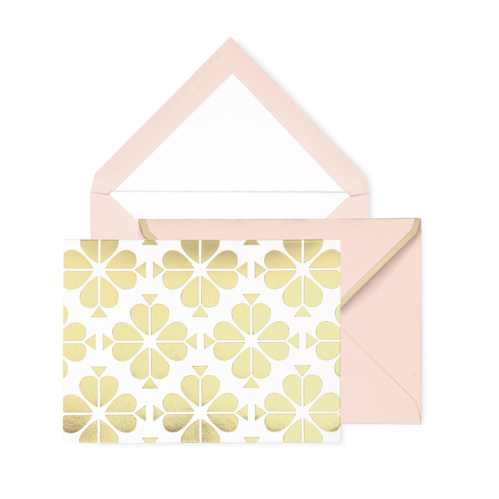 kate spade new york Notecard Set, Gold Spade Flower
