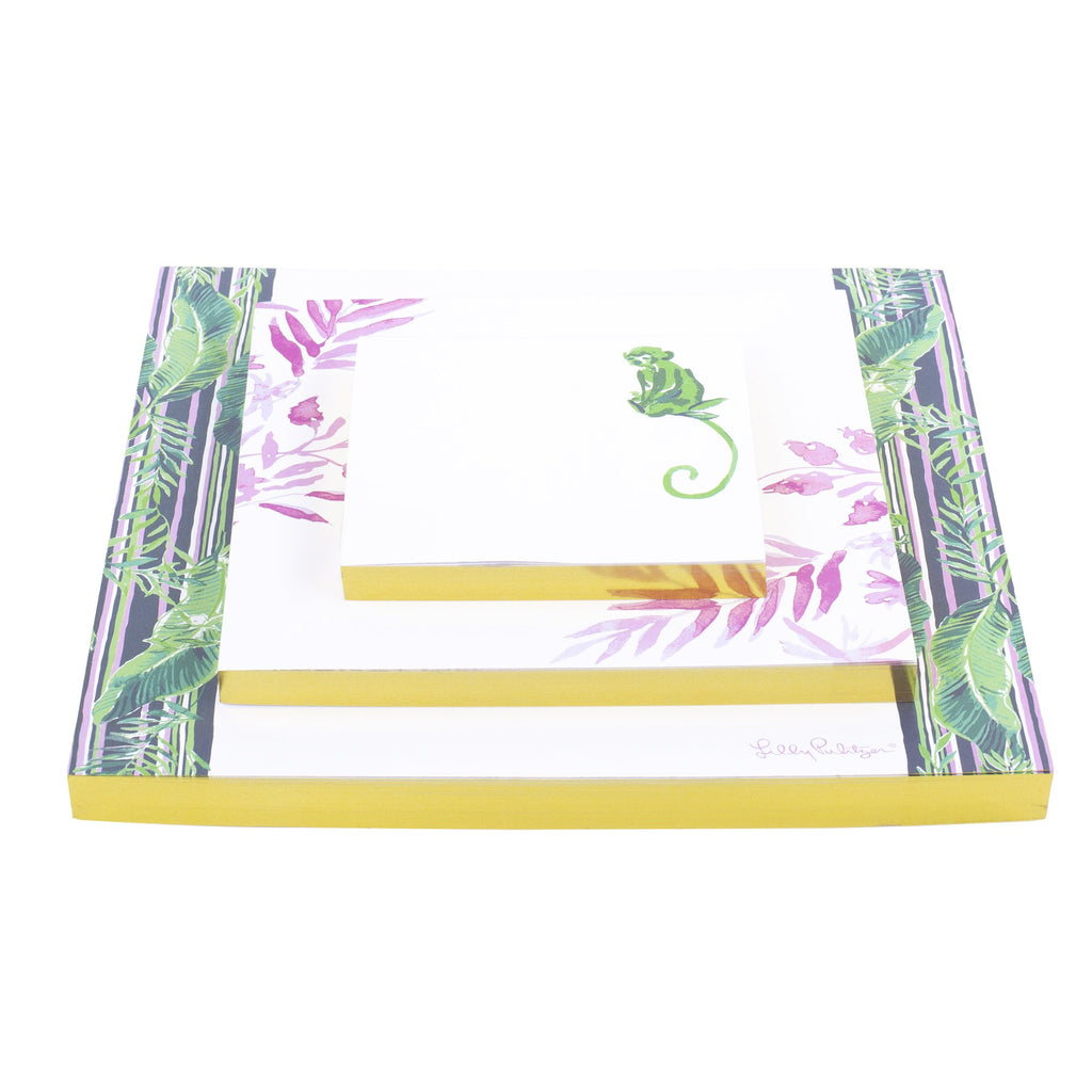Lilly Pulitzer Notepad Set, Chimpoiserie