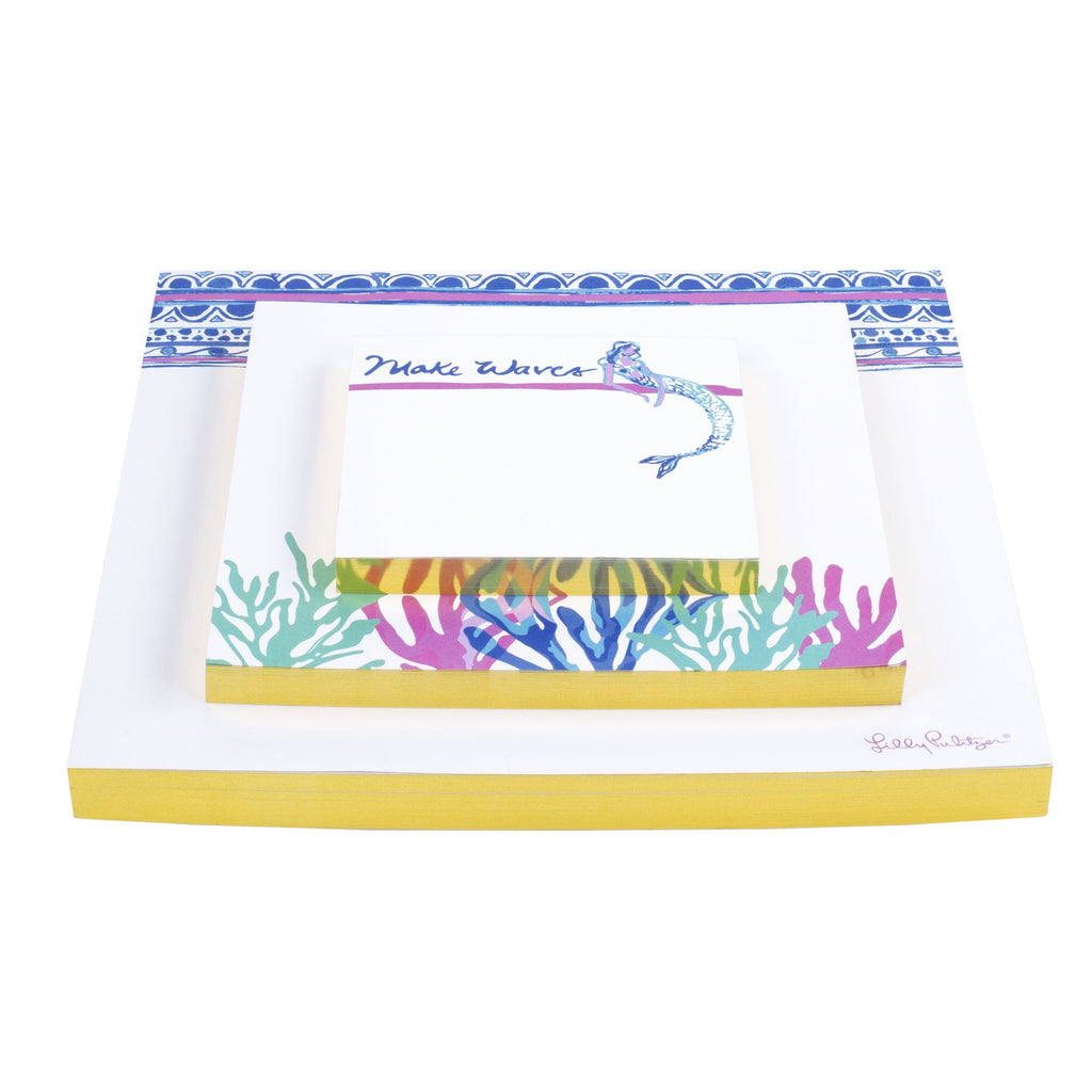 Lilly Pulitzer Notepad Set, Mermaids Cove