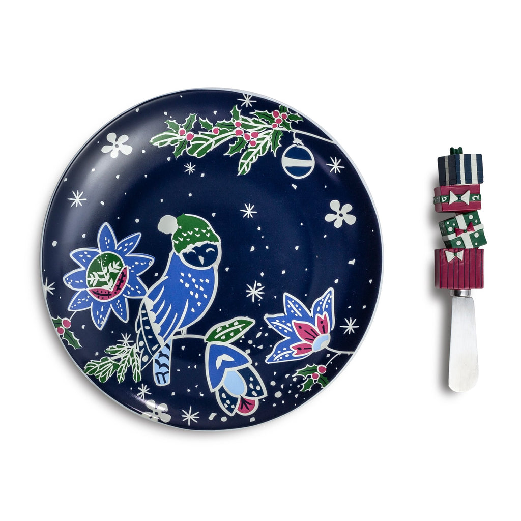 Vera Bradley Cheese Dish With Spreader, Owl