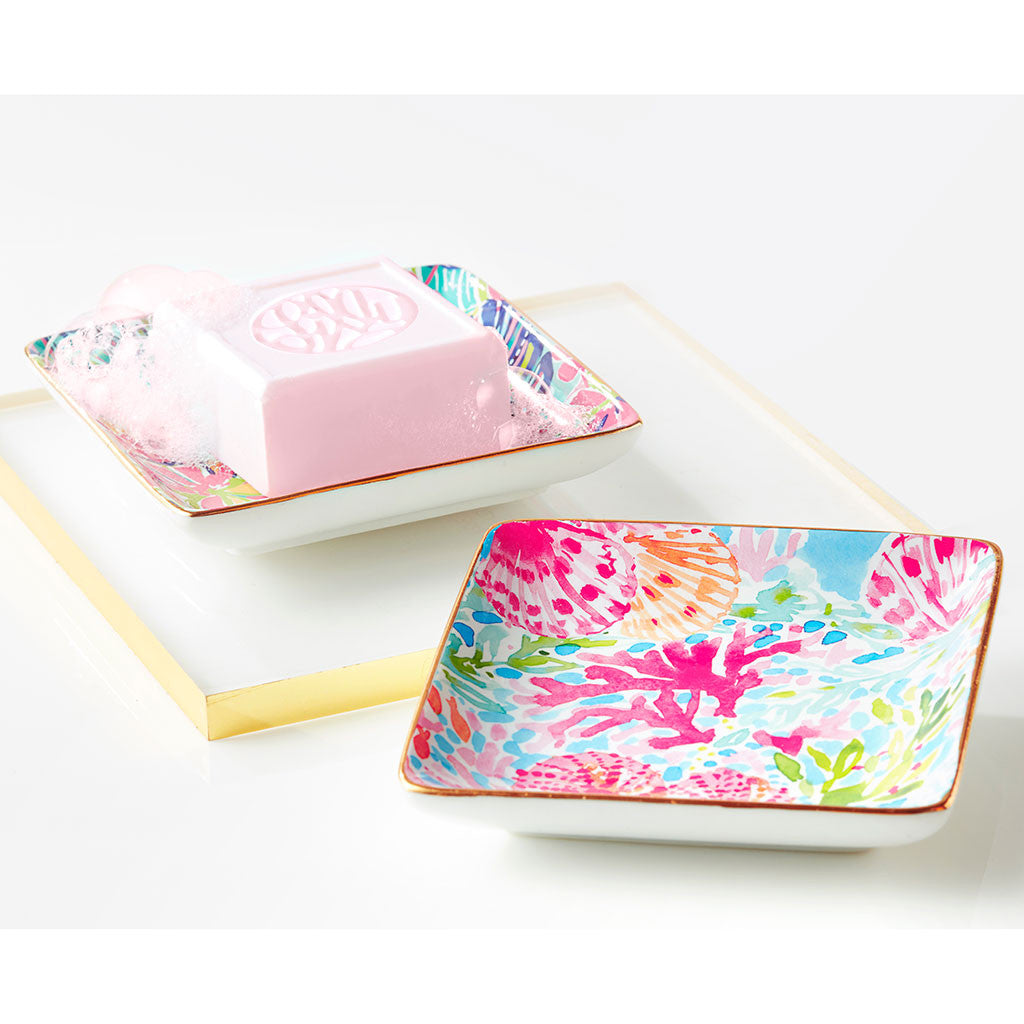 Lilly Pulitzer Soap & Tray Set - Coral Cay - lifeguard-press - 2