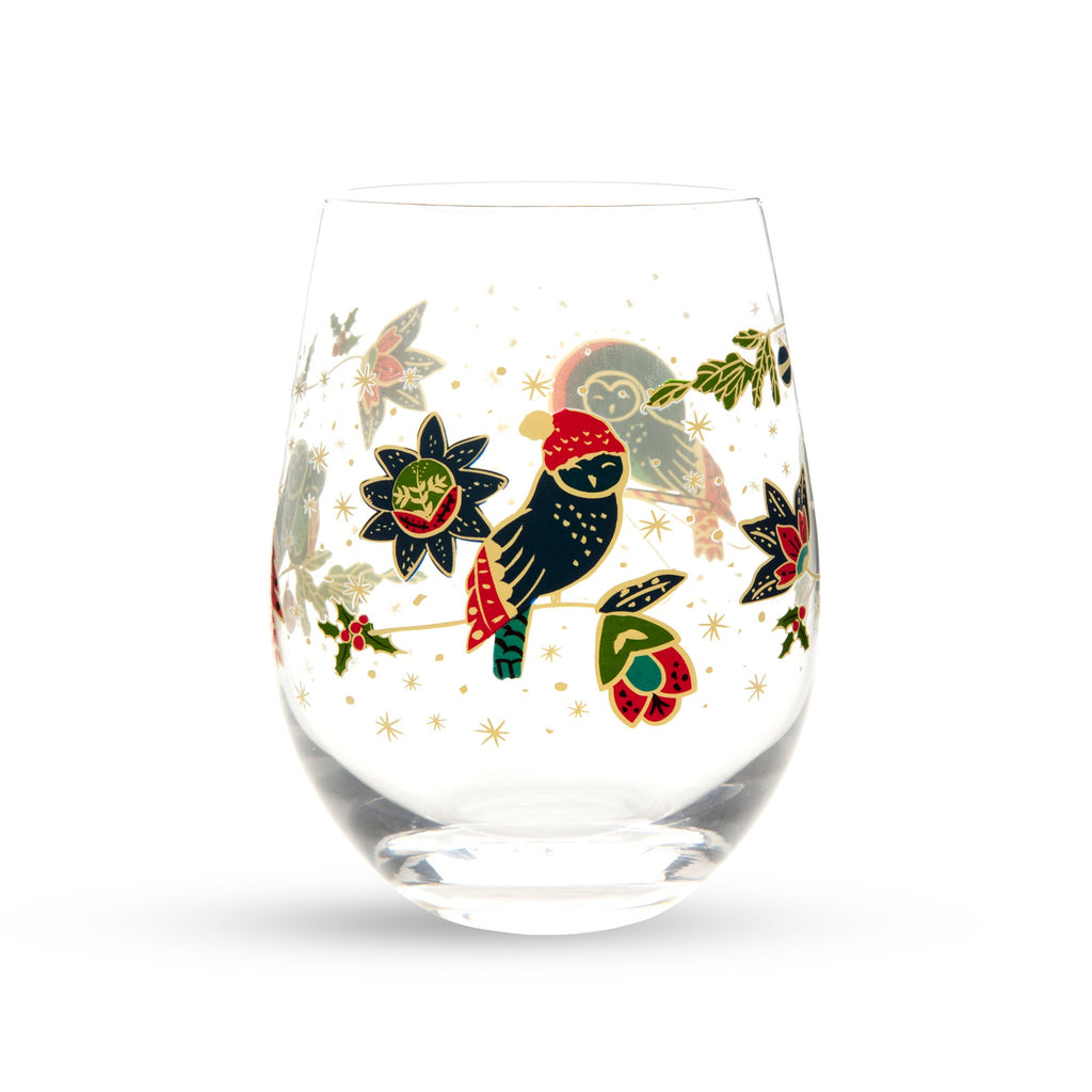 Vera Bradley Stemless Wine Glass set, Owl