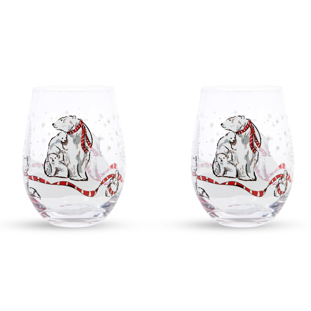Vera Bradley Stemless Wine Glass Set, Beary Merry