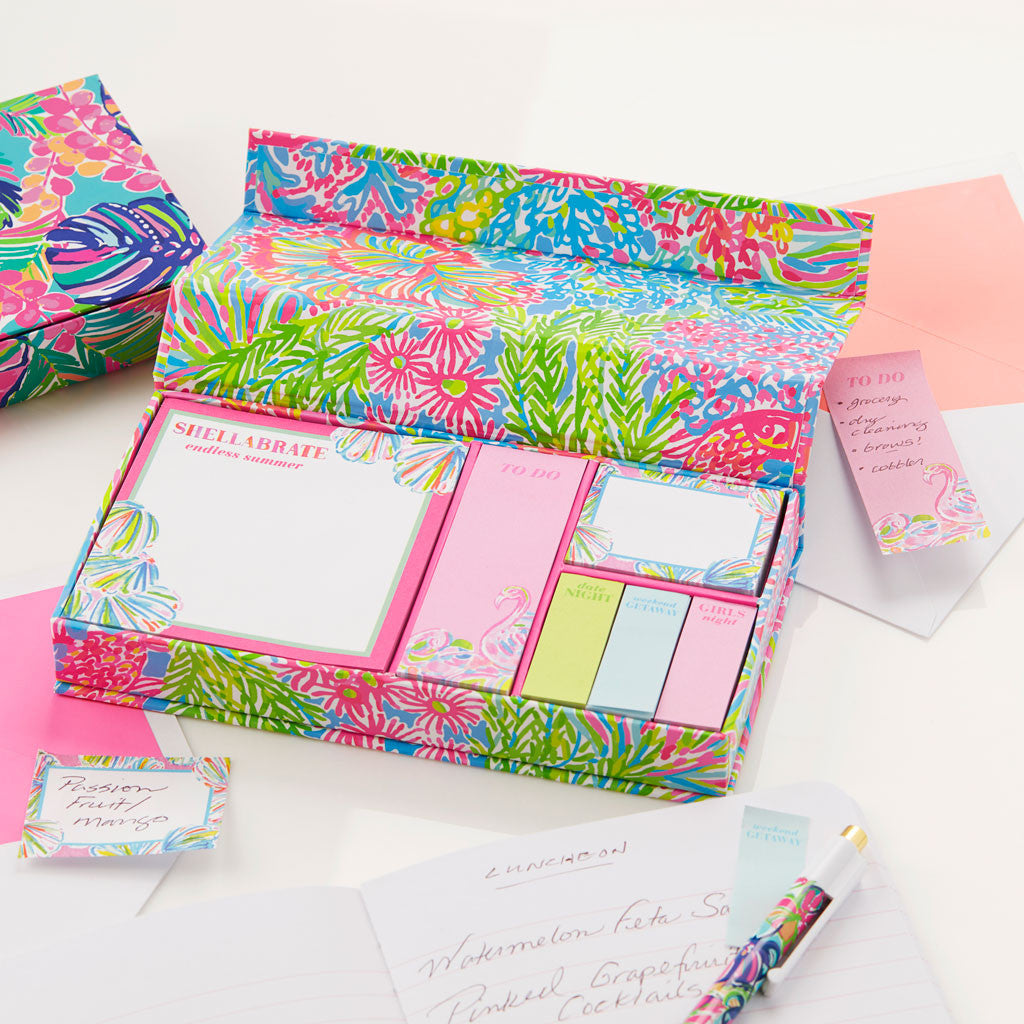 Lilly Pulitzer Sticky Note Set - Lover's Coral - lifeguard-press - 3