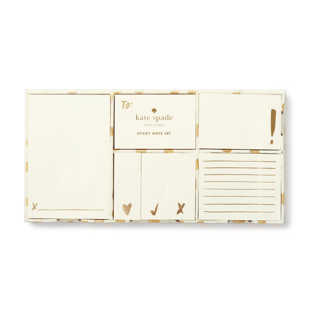 kate spade new york Sticky Note Set - Gold Flamingo Dot