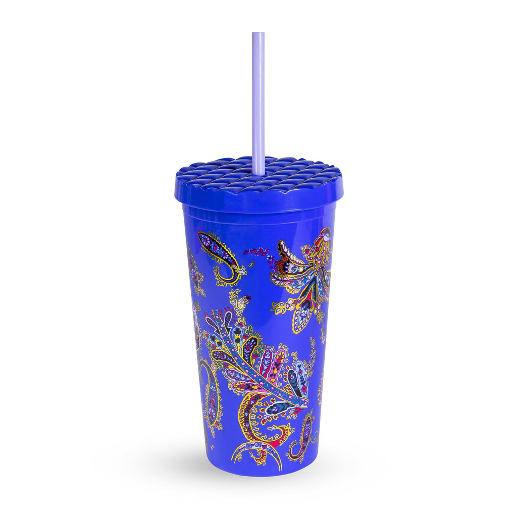 Vera Bradley Tumbler with Straw, Romantic Paisley