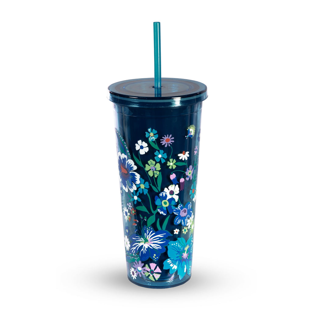 Vera Bradley Double Wall Tumbler With Straw, Moonlight Garden
