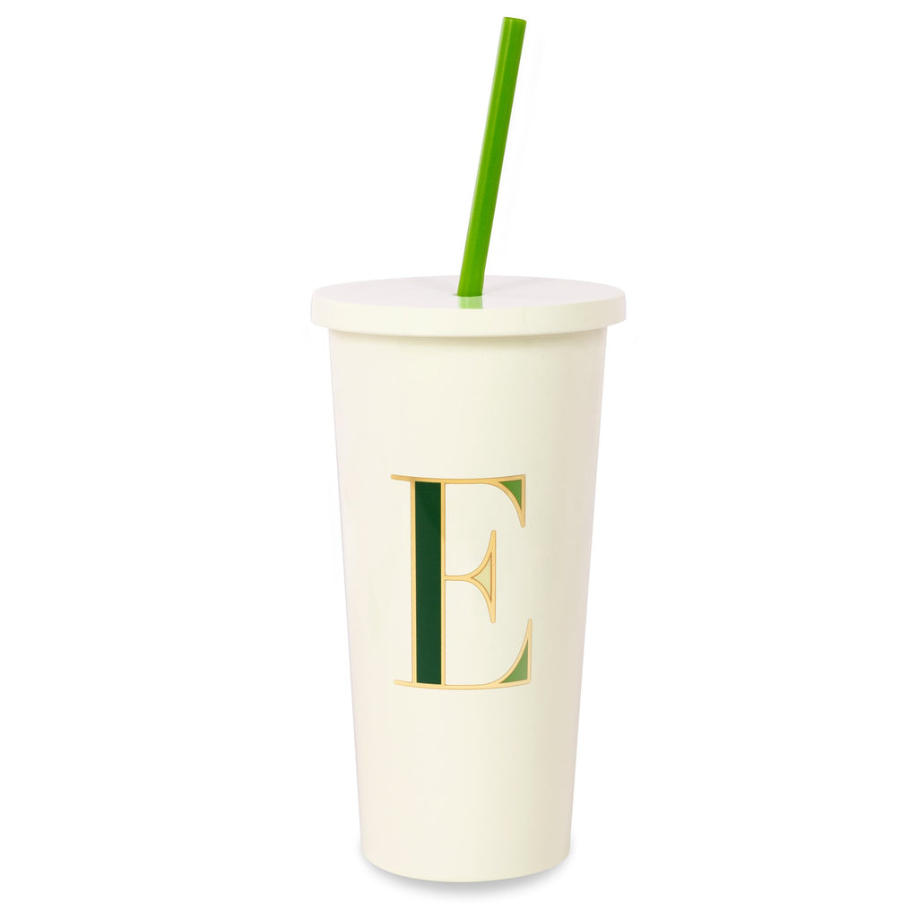 kate spade new york Initial Tumbler With Straw, E