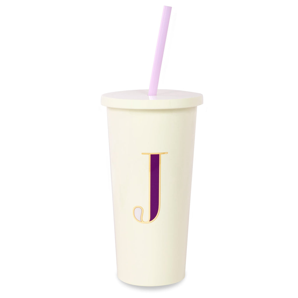 kate spade new york Initial Tumbler With Straw, J