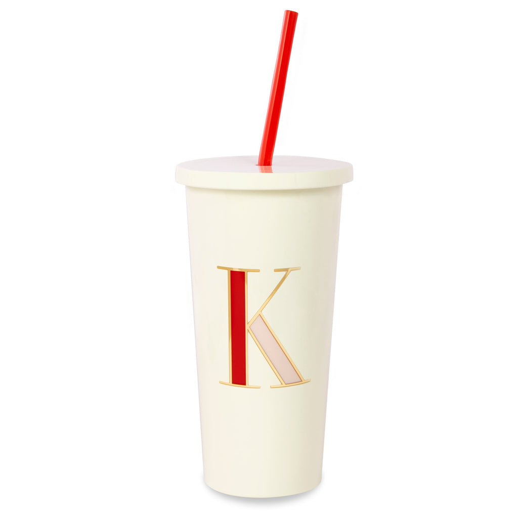 kate spade new york Initial Tumbler With Straw, K