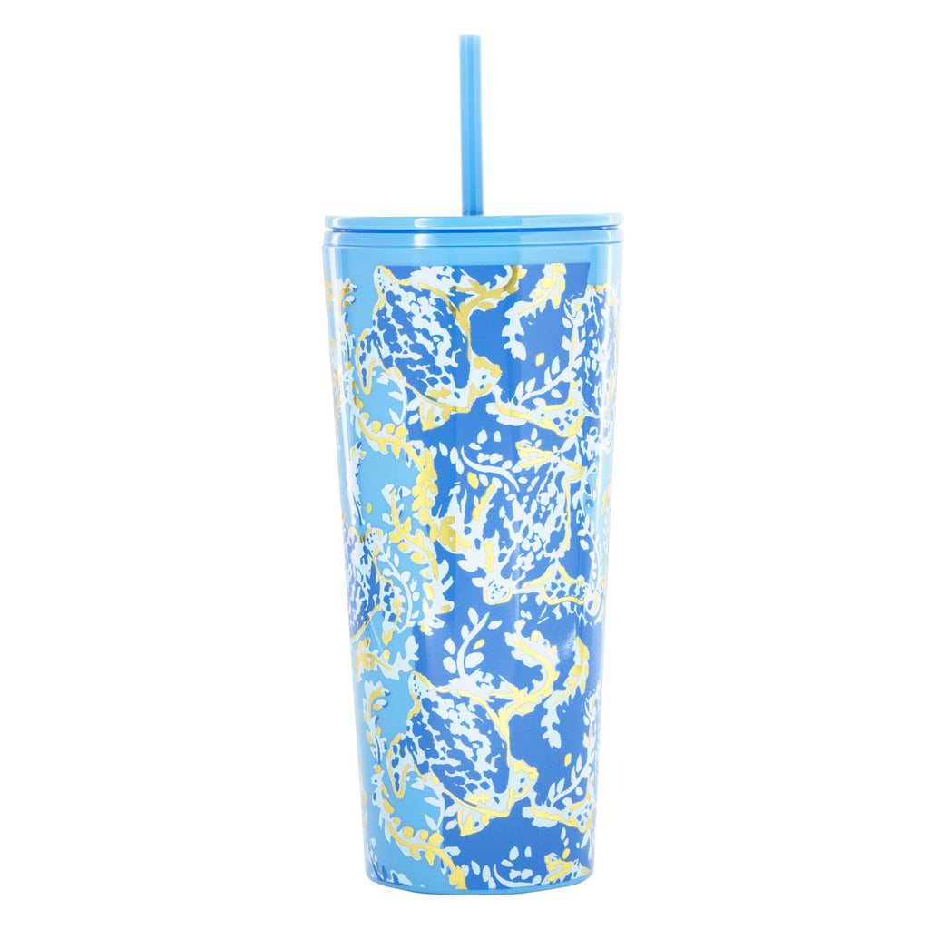 Lilly Pulitzer Tumbler with Straw, Turtley Awesome
