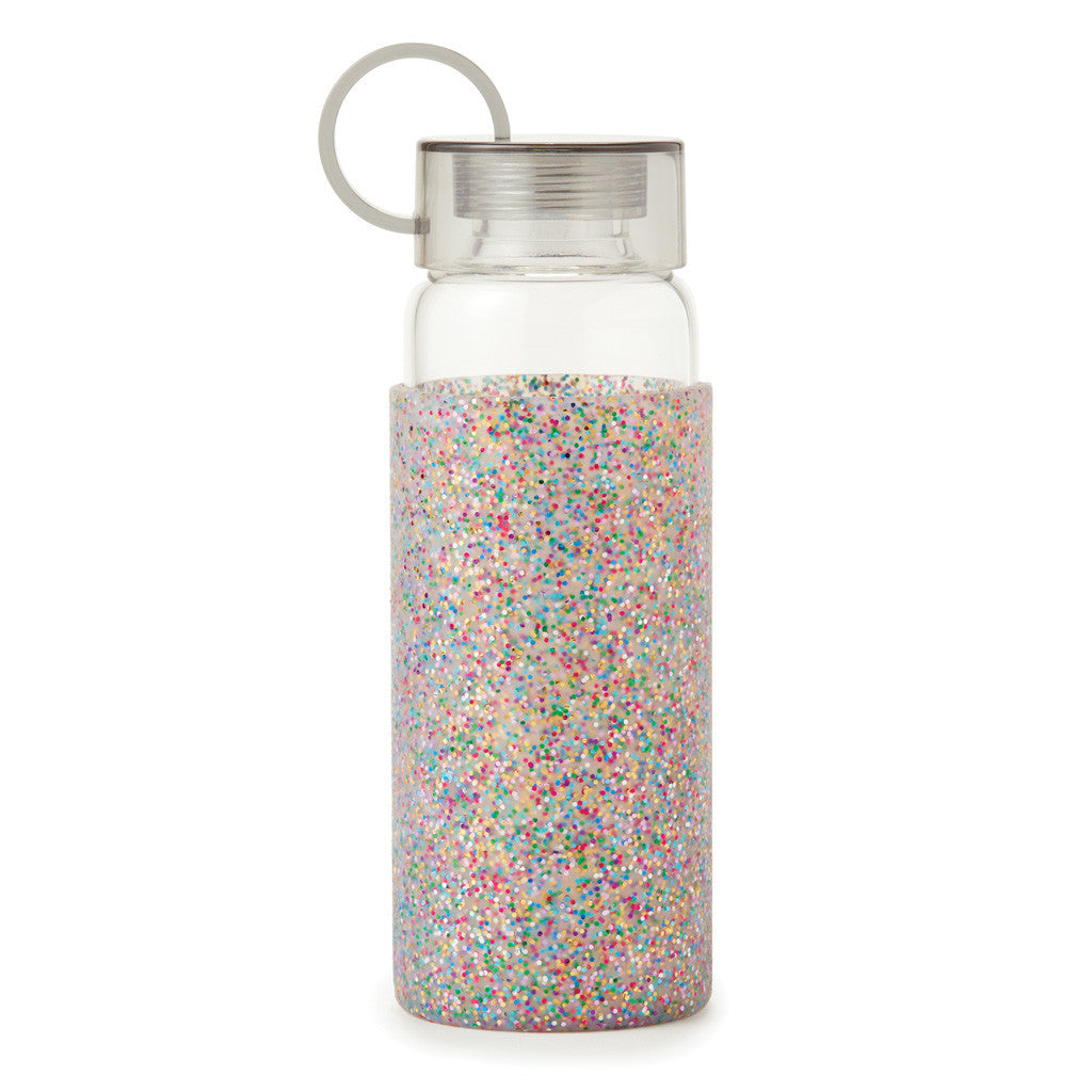 kate spade new york glass water bottle - multi glitter