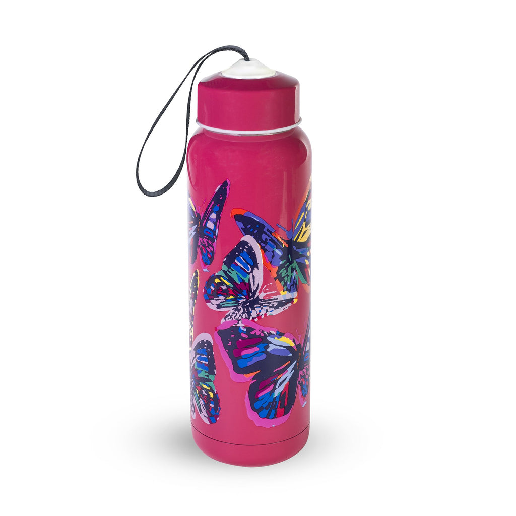 Vera Bradley Stainless Steel Water Bottle, Butterfly Flutter Pink