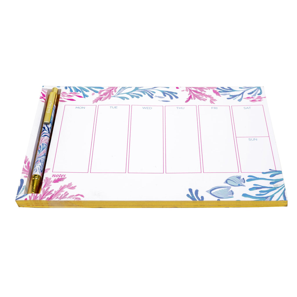 Lilly Pulitzer Weekly List Pad With Pen, Kaleidoscope Coral