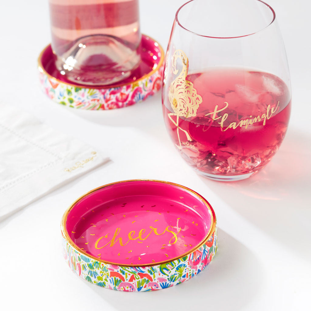 Lilly Pulitzer Wine Coaster - I'm So Hooked - lifeguard-press - 2
