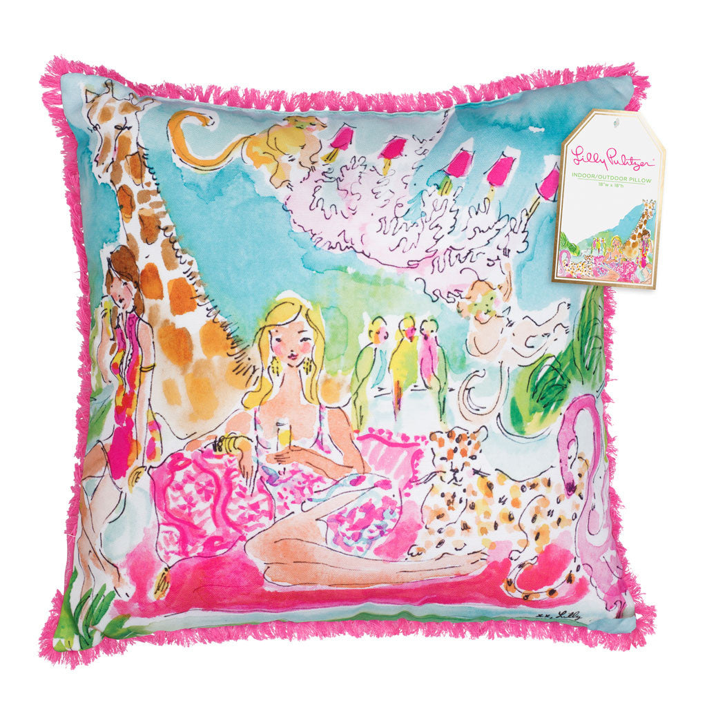 Lilly Pulitzer Large Pillow - Zoo Party - lifeguard-press - 1