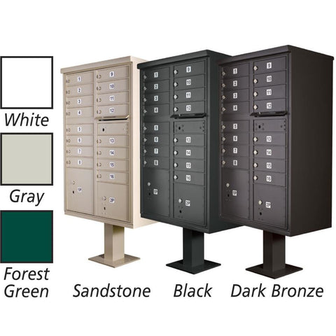 13 door cbu mailbox with standard pedestal - Commercial Mailboxes