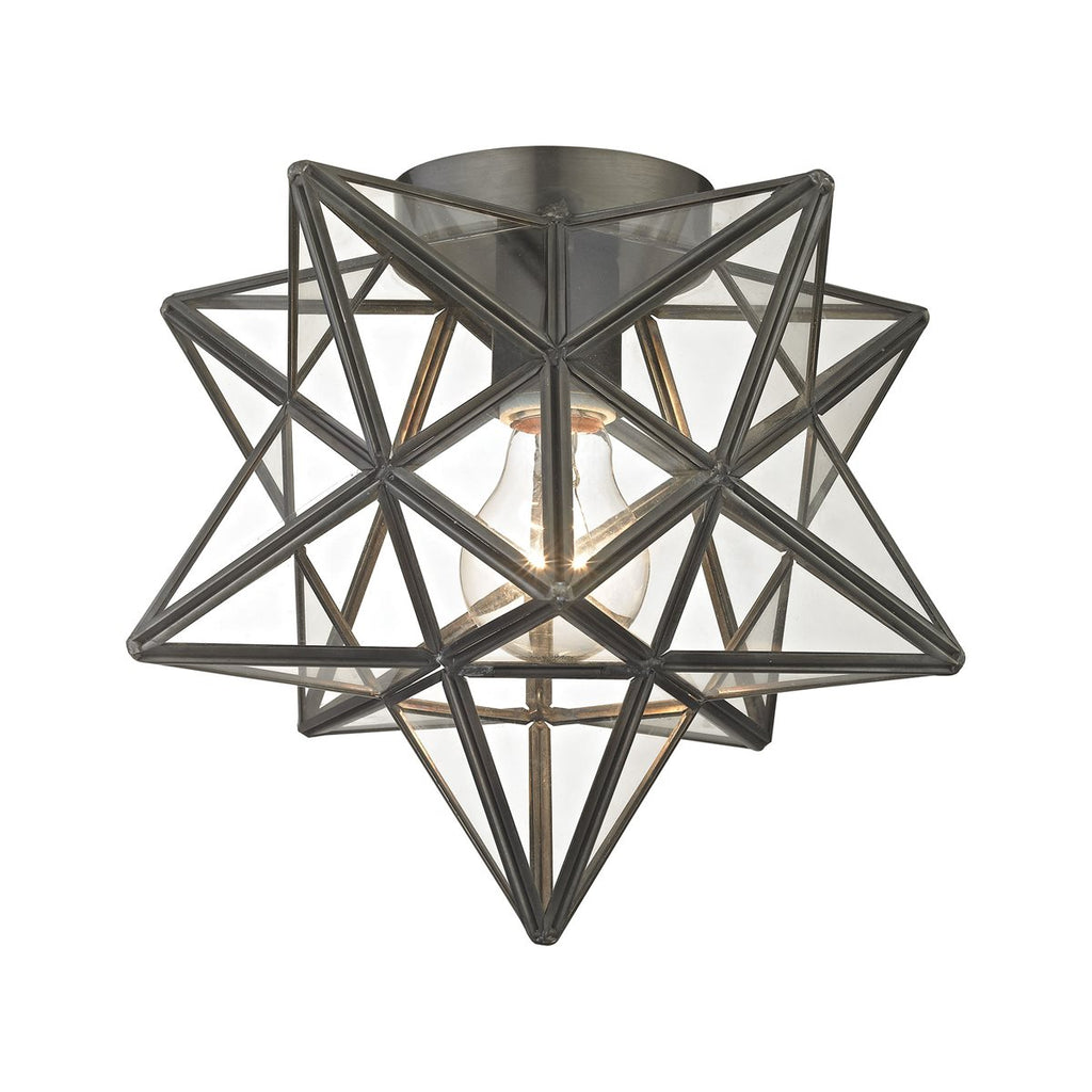 Moravian Star Clear Glass Flush Mount Ceiling Light