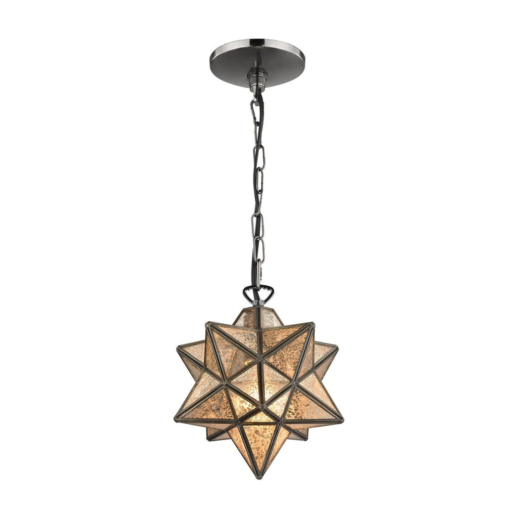 Moravian Star Antique Mercury Glass Pendant