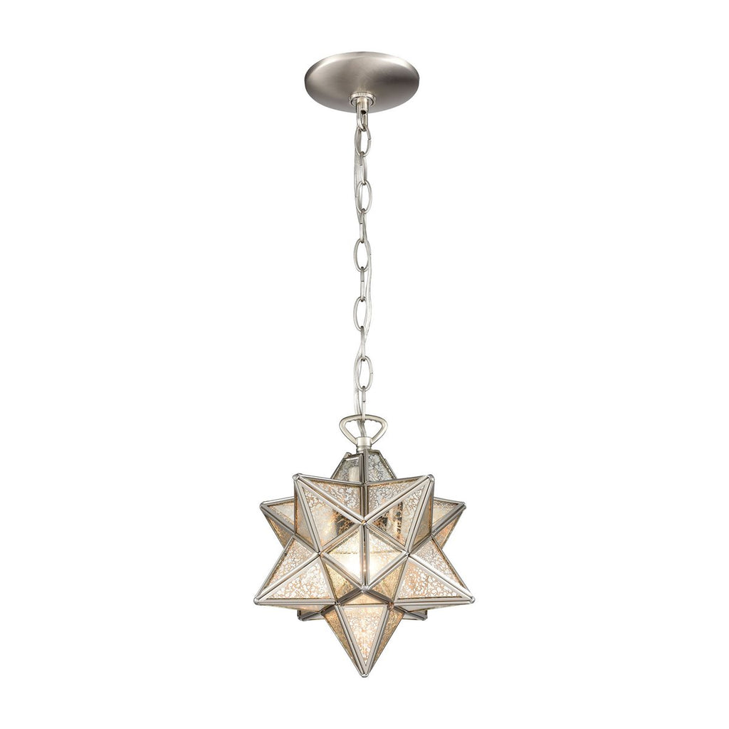 Moravian Star Silver Mercury Glass Pendant Light Domaci