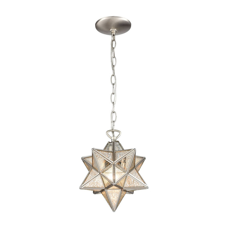 Moravian Star Silver Mercury Glass Pendant Light