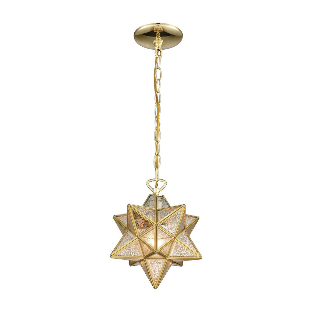 Moravian Star Gold Mercury Glass Pendant Light