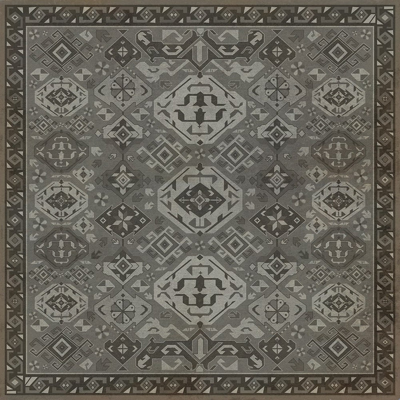 "Traditional Williamsburg ""Poppy Seed"" Vinyl Floorcloth"