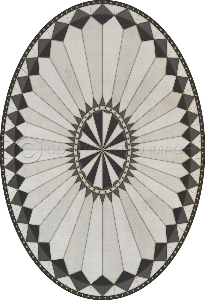 "Pattern 84 ""Charleston"" Oval Vinyl Floorcloth"
