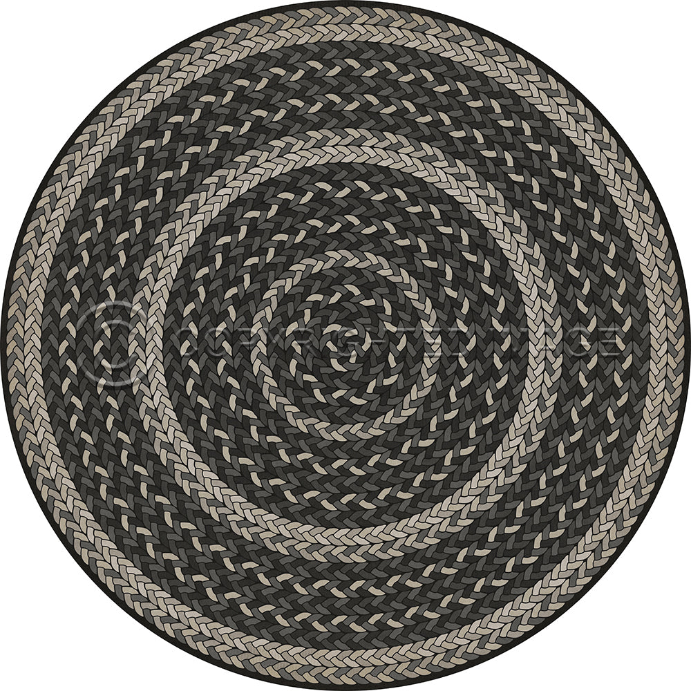 "Pattern 85 ""Such A Cozy Room"" Braided Round Vinyl Floorcloth"