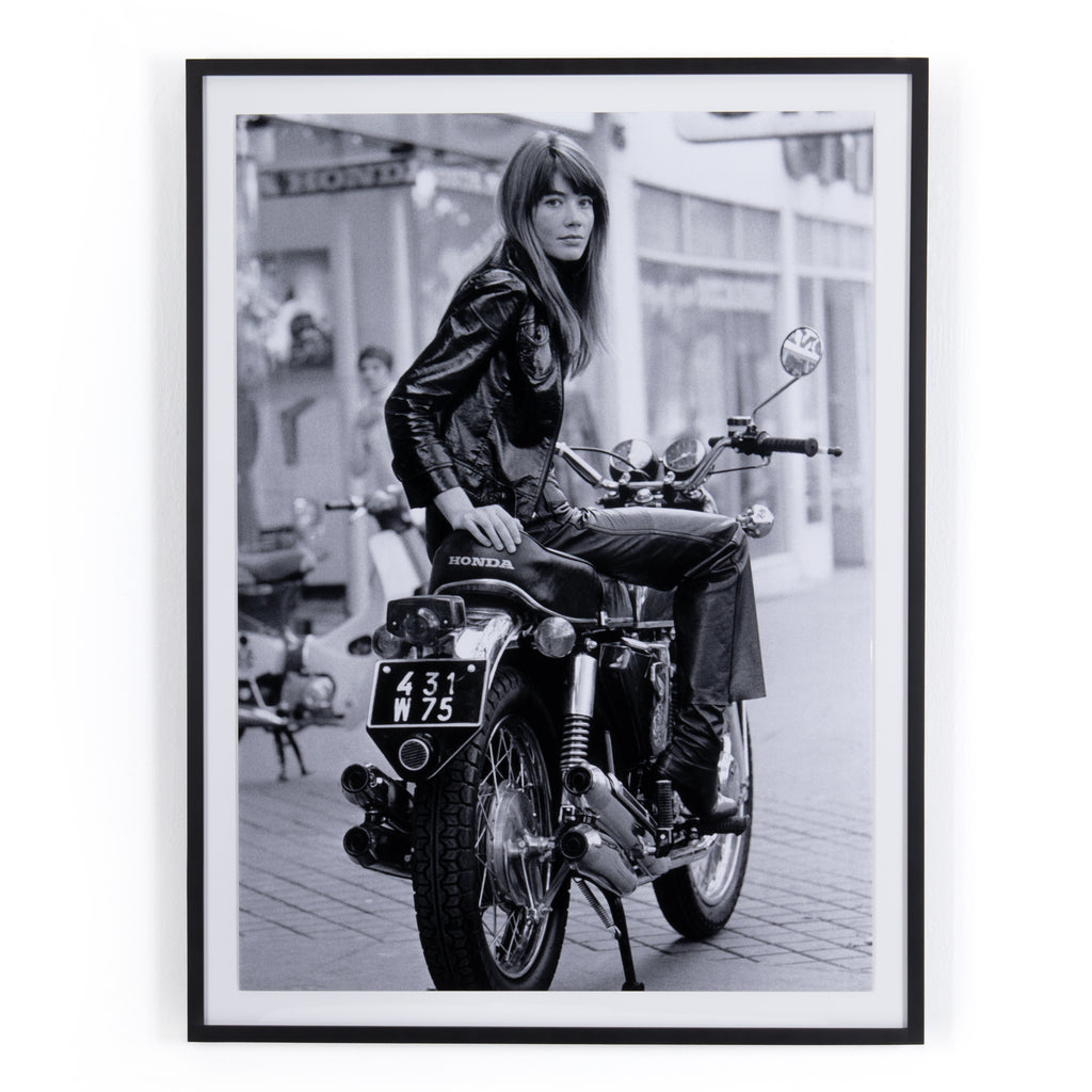 Françoise Hardy on a Motorcycle Framed Wall Art by Getty Images